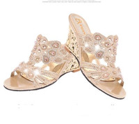 Wholesale T Mouth - fashion sandals female 2017 summer new slope with Rhinestone pierced female high-heeled sandals fish mouth shoes