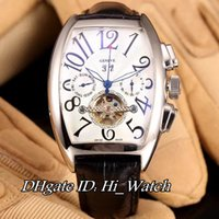 Wholesale Pin Collections - Super Clone MEN'S COLLECTION 8880 Steel Case 42mm White Dial Big Number Automatic Tourbillon Mens Watch Leather Watches Daydate 4 Colors FM