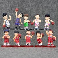 Wholesale Slam Dunk Shohoku - EMS 7-10cm SLAM DUNK Shohoku Rukawa Kaede 5pcs set PVC Action Figure Collectable Model Toy for kids gift free shipping
