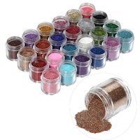 Wholesale Acrylic Color Powder Jumbo - Wholesale- Free shipping 24pcs set Nail Art Acrylic UV Gel Powder Glitter Polish Nails Kit Shiny Color Dust 3D Deigin Decoration Jumbo size