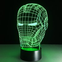 3d wall art light achat en gros de-Livraison gratuite Personnalisé Superhero Iron Man Night Light 7 Color Changing 3d Illusion Wall Art Nightlight LED Desk Table Lamp