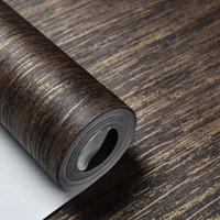 Wholesale Interior Design Wallpapers - Wholesale-Interior Design Vintage Retro Striped Metallic Wallpaper For Walls & Bedroom,Gold Brown