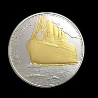 Wholesale Bi Plates - The Voyage of Titanic Ship Remember Bi Metal Silver Gold Plated Souvenir Coin