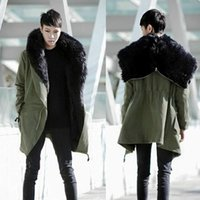 Wholesale Dress Parka - Wholesale- Top Quality New Fashion Mens Long Winter Cotton Parka Dress Hooded Coat Parkas Coat Fashion Fur Collar Warm