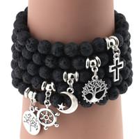 pulsera de timon al por mayor-Hot Lava Rock Beads Bracelets Rudder tree cruz estrella pluma encanto negro piedra natural estiramiento pulsera para mujeres moda artesanía joyería
