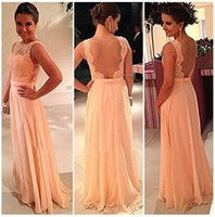 Wholesale Cheap Long Dresses Sale - Free shipping!High quality nude back chiffon lace long peach color for sale cheap bridesmaid dresses wedding maid dress BD111