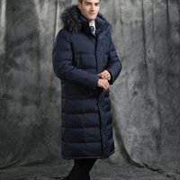 Wholesale Long Down Coat For Men - 2017 New down parka men winter jacket men's high quality hooded down coat thick long coat for Male fur collar