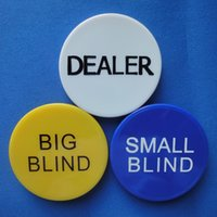 Wholesale Quality Dealers - 3 pcs set Poker Chips High Quality Gamling Banker Chips Pocker Game 5cm*5cm Yellow Blue White Big Blind Small Blind Dealer Set
