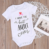 Wholesale Baby Aunt - Hot Selling Newborn Baby Rompers Summer Infant Kids Boys Girls White Romper The Best Aunt Letters Printed Jumpsuit Cotton Clothes Outfits