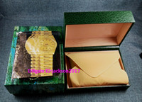 Wholesale Wholesale Watch Boxes For Men - 3pcs Free shipping Luxury watch Mens For Watch Box Original Inner Outer Womans Watches Boxes Men Wristwatch Green box booklet card