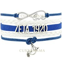 Wholesale Infinity Rhinestone Charm - Custom-Infinity Love Rhinestone ZETA 1920 Dove Charm Bracelet Blue White Wax Cord leather Wrap Braided Bangls Adjustable-Drop Shipping