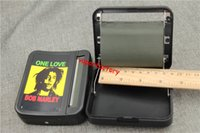Wholesale Bob Marley Home - 8pcs Plastic Automatic cigarette rolling machine cigarette roller case hand Bob marley one love DIY case tool home 78MM tobacco roller box