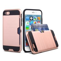 Wholesale Iphone Hold Case - Phone8 Phone7 For iPhone 8 7 iPhone8plus I plus Case 4.7 inch Fiber Hybrid Protective Back cover Card Hold Celulars Coque Fundas