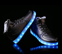 Wholesale Led Flash For Adults - Men USB Charging High Top Luminous LED Light Shoes 7 Colors Flashing Casual Glowing Light up Shoes for Adults