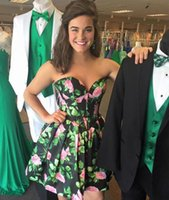 Wholesale Rosette Homecoming Dresses - Floral Print Taffeta Short Homecoming Dress 2017 A Line Sweetheat Cocktail Party Skirt Strapless Rosette Pageant Prom Gown
