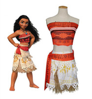 Wholesale Cosplay Girl Free - NEW Kids Movie Moana Princess Dress Cosplay Costume Princess vaiana Costume Skirt dress up fast shipping free