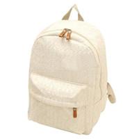 dantel tuval çantası sırt çantası toptan satış-Toptan Satış - Gençler kızlar için Kore dantel içi boş rahat tuval sırt çantası öğrenci okul çantası