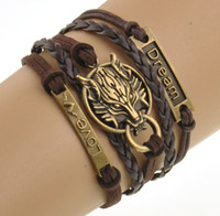 Wholesale Wolf Charms For Bracelets - Charm Boho Wolf Style Brown Rope Chain Bracelet Men Jewelry Bracelets For Women Pulseras Mujer With Nameplate Free Shipping