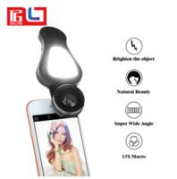 Wholesale Wholesale Macro Flash - 4 in 1 Selfie Flash Light mobile Phone Lens kit 0.62X Wide 15X Macro 205 Degree Fisheye Lens For iPhone for Samsung