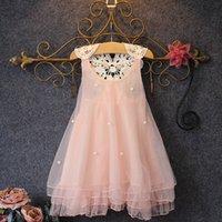Wholesale Chain Fencing - 2017 Korean girls princess dress 2017 Summer New chain link fence pearl vest, skirt tutu dress