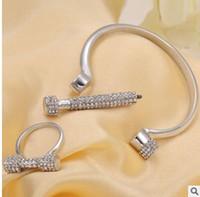 Wholesale Horseshoe Sets - Full of diamond letter D bracelet bangle rings horseshoe screw good quality bracelets one color shipping free