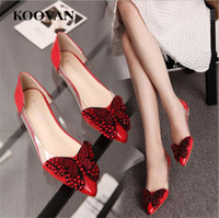Koovan Moda Sapatos femininos 2017 Hot Sale Novo verão Pointed Toe Flat Bottom Elegance casual Shoes Rhinestones Bow-tie 4 Color W094
