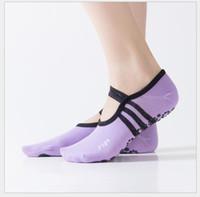 ingrosso calze yoga viola-Il nero antiscivolo delle donne di sport del cotone di slittamento delle donne di rosa rosso porpora calza i calzini di ballo dei calzini di balletto del calzino di sport dei calzini di ballo veloci Trasporto libero veloce