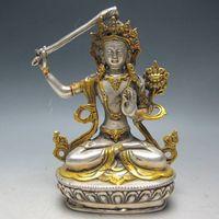 Wholesale Yellow Sheet Metal - 14.5 cm *   China's Tibet Buddhism handmade silver gilded Buddha
