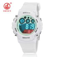led saatler ohsen toptan satış-Yeni 2017 OHSEN beyaz lastik bant dijital LED Kol erkek çocuklar 50 M su geçirmez açık spor karikatür çocuk saatler hediyeler
