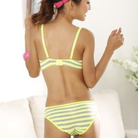 Wholesale Cheap Padded Bra Sets - 2017 new Lolota cotton Summer Academy wind light stripes 3-breasted bamboo carbon fiber underwear bra suits cheap price