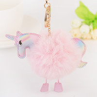 Wholesale Metal Feather Pendants Charms - New Super Cute Unicorn Keychain Pendant Bag Charms Handbag Accessory Purse Ornament Rainbow Horse Fur Key Chain