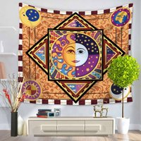 Wholesale Woven Tapestry Throw Blanket - 150*130cm Colorful Tapestry Psychedelic Celestial Indian Sun Tapestry Wall Hanging Throw Bohemian Door Curtain Yoga Mat Picnic Beach Blanket