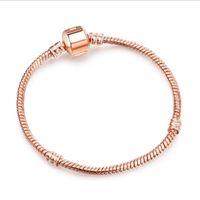Wholesale Rose Gold Clip Charm - 10pcs lot Fashion Copper Rose Gold Snake Chain Round Clip Bracelet Fit European Charm beads DIY Jewllery Making 17cm-21cm