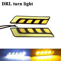 Wholesale H4 Color - 2 PCS Cars Daytime Running Light Waterproof COB White Color Day Light + Yellow ColoFog Light Turning Signal 12v 20w