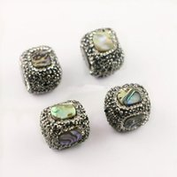 DIY 8Pcs Paua Abalone Shell Paved Rhinestone Spacer Loose Bead, Square - Shape Connector Beads For Jewelry Making