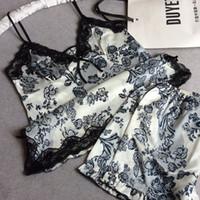Wholesale xxl sexy women pajamas - Wholesale- Flower Printed Sexy Women Summer Satin Pajamas Set Spaghetti Strap&Short Pants V-neck Sleepwear Suit Lace Nightgown M L XL XXL