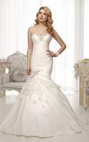 Wholesale Sweetheart Flowers - Elegant Organza Mermaid Wedding Dresses With Flowers Bridal Wedding Gown Beaded Sweetheart Bridal Gowns Custom Size Color