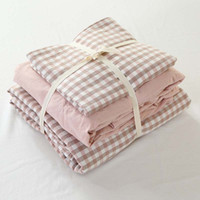 Wholesale hotel quality duvets - 100% cotton quality little pink checks princess home hotel nursing queen king bed fitted sheet duvet cover bedding set 3806
