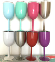 Wholesale Red Cocktail Glasses - Double Stainless Steel Red Wine Glass With lids 10OZ Cocktail Glass Goblet 9 Colors Bar Car Mugs