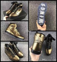 Wholesale Label For Fabric - 2017 Air Retro 1 Wings Basketball Shoes For Men Women Top Quality Leather Gold Black Mens Sports Retros Sneakers Basket Shoes 36-44