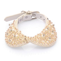 Wholesale pearl dog collar - Fashionable Pearl Studded Dog Collar Crystal Necklace Bowtie White Leather Collar Wtih Glittering Jeweled Pet Accessories