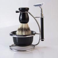 Wholesale Wholesale Shaving Sets - 5 In 1 Men Bowl Brush Dish Stand Shaving Razor Beard Clean Shaver Set Stand Manual Shaving Soap Bowl Travel Kit ZA2974