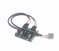 Wholesale Usb Header Card - F23106 F07 9pin USB header Male 1 to 2   4 Female Extension Cable Card Desktop 9-Pin USB HUB USB 2.0 9 pin Connector Adapter Port Multilier