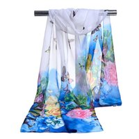 Wholesale Butterfly Scarf Silk Flower - Factory Cheap Woman Scarf Silk Brand Animal Print Flower Butterfly Silk Ladies Chiffon Scrawl Flower Printed Wrap Scarf Beach Cover 160*50cm