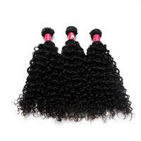 extensões remy misturadas do cabelo brasileiro venda por atacado-100 Pacotes Completos Cabelo Brasileiro Afro Encaracolado Ondulado Vrgin Tecer Cabelo 1B Natural Preto 12
