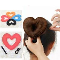Wholesale Tiara Shaped Rings - Cute Heart Shape Tiaras Hair styling Tool Women Girls Sponge Bract Head Meatball Hair Bun Maker Ring Donut hair braiders
