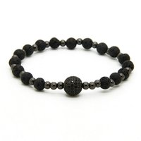 Venda Por Atacado Mens Bracelets 10pcs / lot 6mm Lava Rock Pedra Beads Com 10mm Black Cz Ball Stretch Bracelets