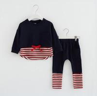Wholesale Navy Kids Clothes - Girl's stripe clothes kids navy T-shirt+pants 2 pcs children cotton clothing for 1~7 Y 5 s l