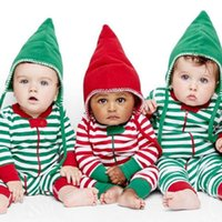 Wholesale Toddler New Years Outfit - New BABY Boys Girls Xms Clothes Children Chirstmas Rompers Striped Holiday Outfit Set New Year Jumpsuit Toddler Green Red Next Outfit Set