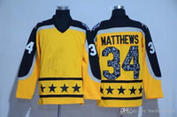 Wholesale Ice Stock - Toronto Maple Leafs Jerseys 2017 All Star 34 Auston Matthews Hockey Jerseys Yellow All stiched Free shipping In Stock